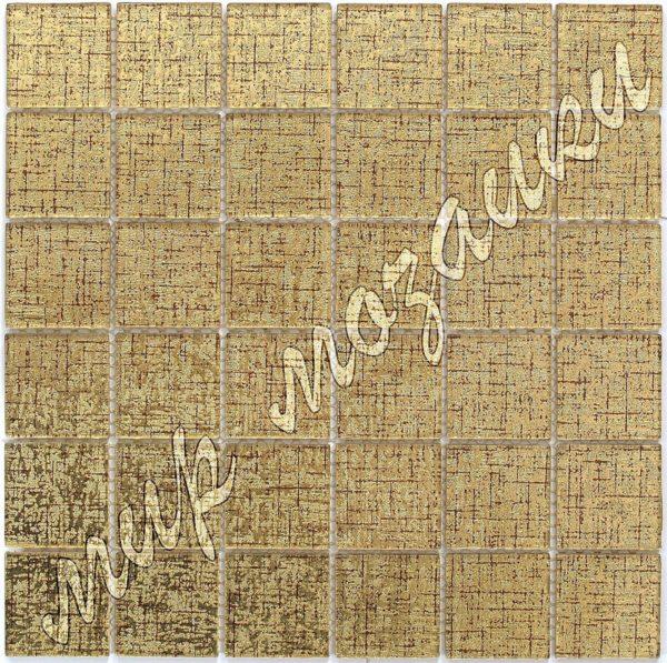 Золотая мозаика из стекла с тканевым принтом A203