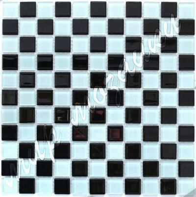 Шахматная чб мозаика из стекла A23