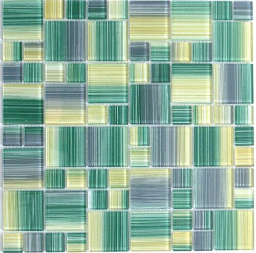 Зелено серая мозаика из стекла D4205