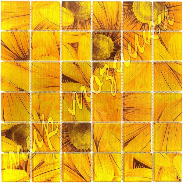 Мозаика из стекла принт из подсолнуха E301