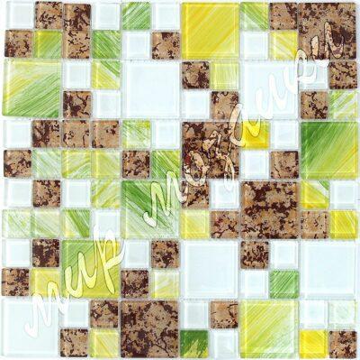 Салатная мозаика из стекла с пробковым принтом D25