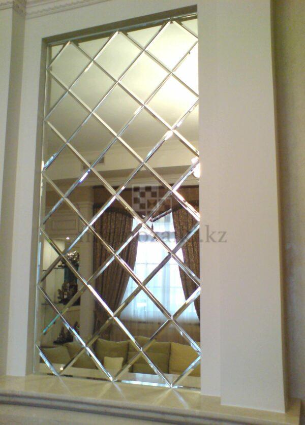 Зеркальное панно с фацетом на кухне 20x20