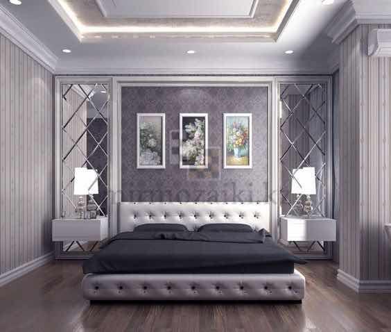 Зеркальное панно с фасетом в спальню | форма ромб
