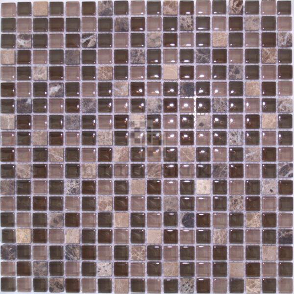 Мозаика из стекла и камня коричневого цвета 08-15