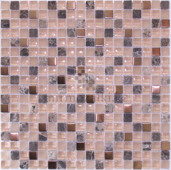 Персиковая мозаика из стекла и камня 05-15A