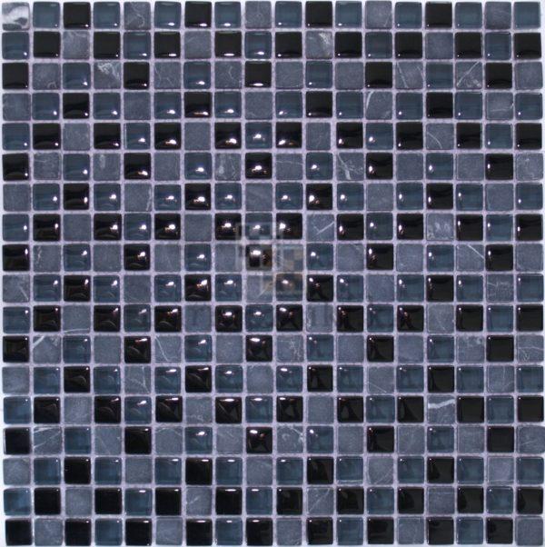 Темно синяя мозаика из стекла и камня 01-15