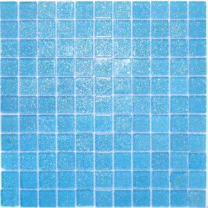Стеклянная мозаика Голубая мозаика из стекла с блестками V 043