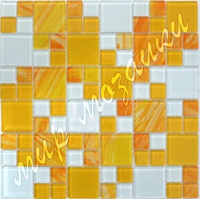 Оранжево белая мозаика из стекла D22