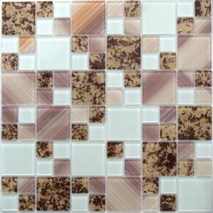 Сиреневая мозаика из стекла с пробковым принтом D24