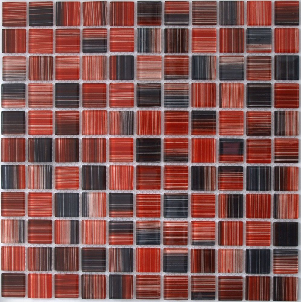 Красно черная мозаика из стекла HP8217