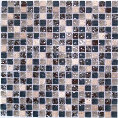 Сине бежевая мозаика из стекла и камня 18-15