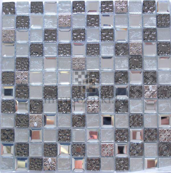 Серая мозаика из стекла и металла JB 2301