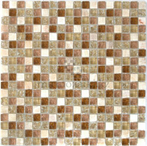 Стеклянная мозаика в бежевых тоннах и ониксом 108-15