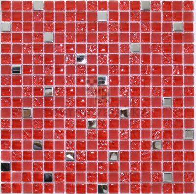 Красная мозаика из стекла и серебренного металла 107-15