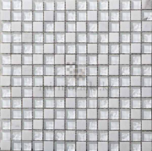 Белая мозаика из стекла и камня 85-15