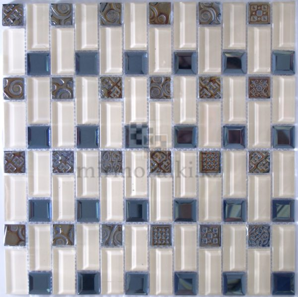 Светлая мозаика из стекла с серебренным металлом ZH 1809