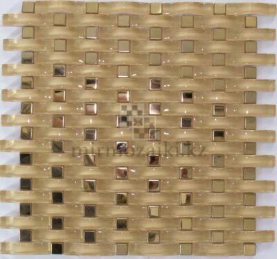 Волнистая стеклянная мозаика с металлом X1