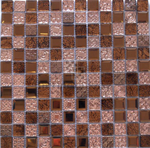 Мозаика из стекла и металла цвет розового золота JB 2313