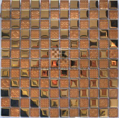 Золотая металическая мозаика со стеклом DQ 005