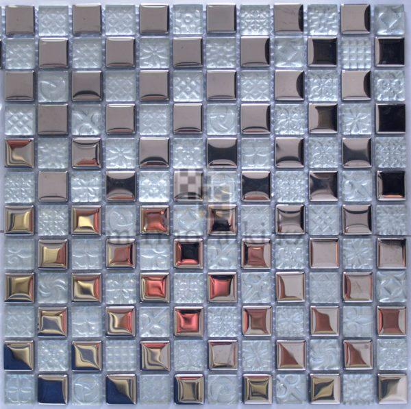 Металическая мозаика с белым стеклом DQ 001