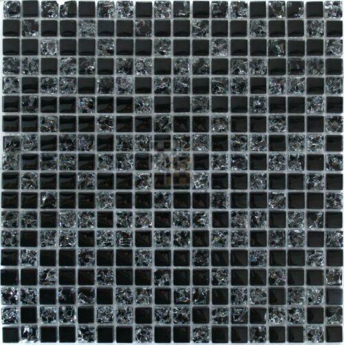 Черная мозаика из стекла и камня 23-15