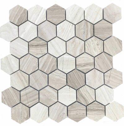 Серая шестигранная мозаика из камня TL300 Каменная мозаика из мрамора