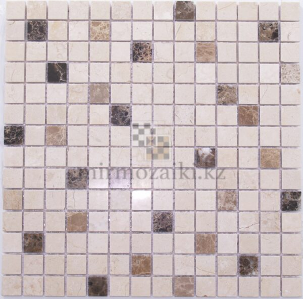 Бежевая мозаика с камнем имперадор лайт+ дарк DS407