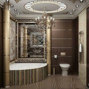 Зеркальное панно с фацетом в ванной 20x20