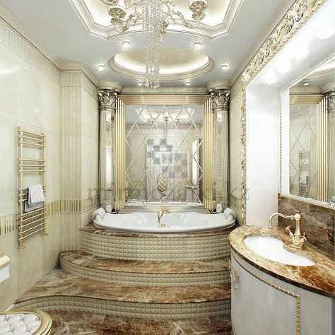 Зеркальное панно с фасетом в ванной | форма ромб