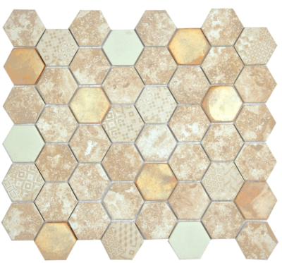Белая  шестиугольная мозаика из камня TL305
