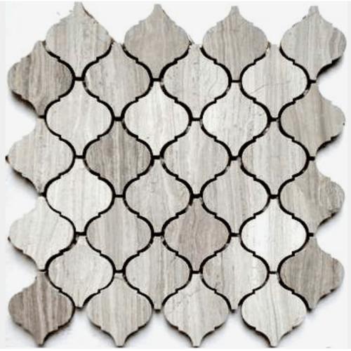 серая миксованая шестиугольная мозаика из камня TL313