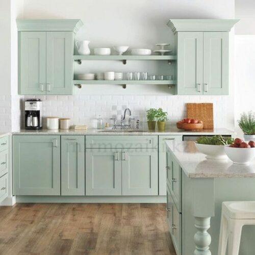 Белая плитка под кирпич для мятной кухни