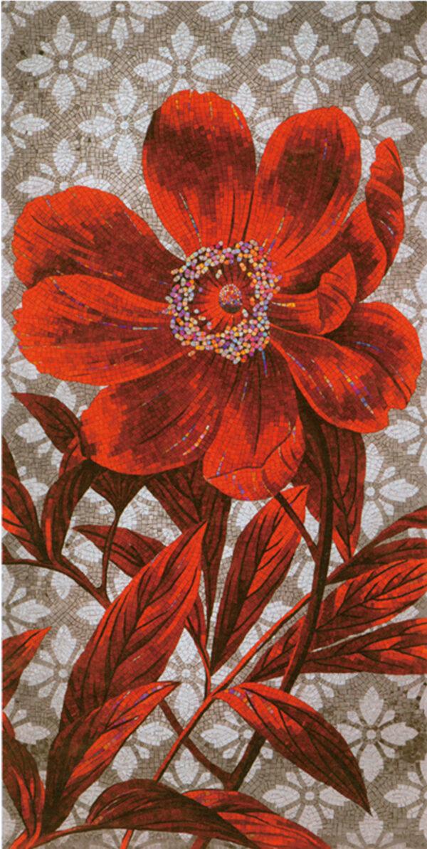 Художественное панно из мозаики Sicis red flower