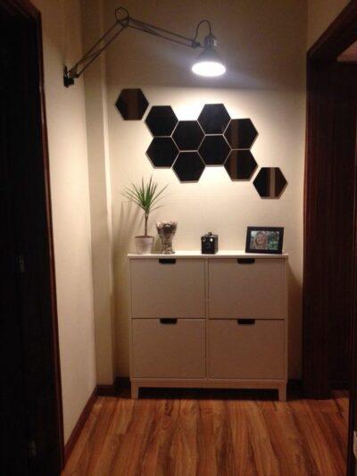 Черное зеркальное панно шестигранник KL05