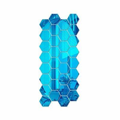 Голубое зеркальное панно шестигранник KL06