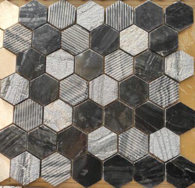 Черная шестиугольная мозаика из камня STT010
