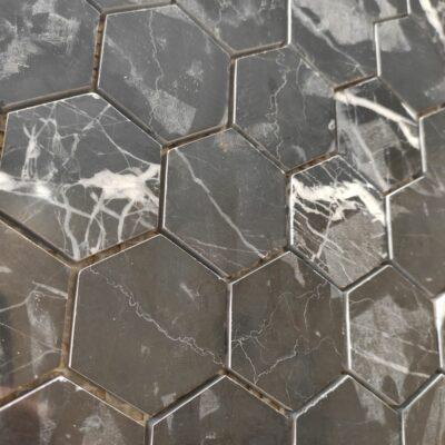 Белая мраморная шестиугольная мозаика из камня TL010