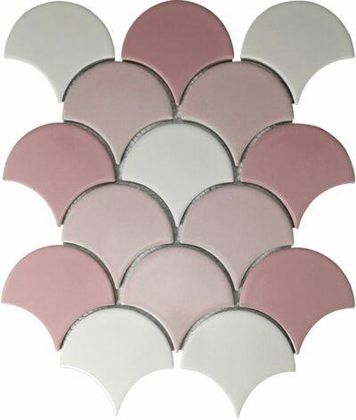 Розовая трехцветная плитка чешуя Х011718 Mirmozaiki.Kz