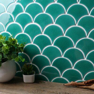 Светло зеленая керамическая мозаика чешуя ХL8512 Mirmozaiki.Kz 4