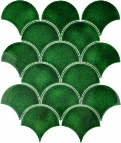 Изумрудная керамическая мозаика чешуя ХL09507 Mirmozaiki.Kz
