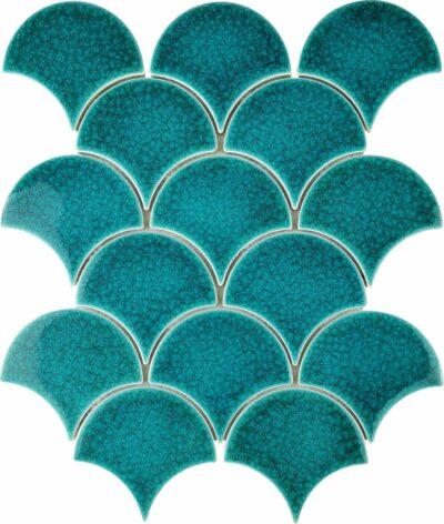 Бирюзовая керамическая плитка чешуя ХL9503 Мозаика - плитка из керамики