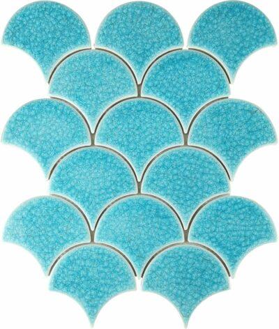 Светло бирюзовая керамическая мозаика чешуя ХL9501 Mirmozaiki.Kz