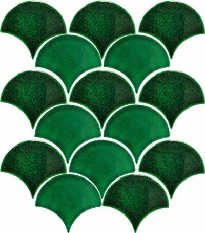 Изумрудная трехцветная плитка чешуя ХL9507