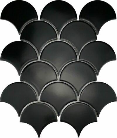 Черная керамическая мозаика чешуя Х8520 Mirmozaiki.Kz