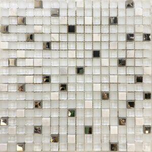 мозаики из стекла и камня Белая стеклянная мозаика с камнем 85 15/1