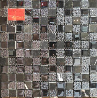 Мозаика черная стекло-камни 10/20, купить плитку в Алматы