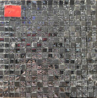 Мозаика черная стекло-камни 10/15, черная мозаика, мозаика на пол