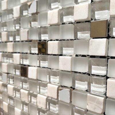 Белая мозаика из стекла и камня 85-15,mir mozaiki стекло камни алматы, купить белую плитку, плитка алматы, мозайка алматы