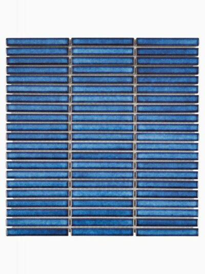 Синяя плитка мозаика полосками стрип Mirmozaiki.Kz