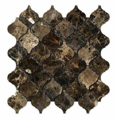 Коричневая мозаика арабеска из мрамора DRS012 Mirmozaiki.Kz